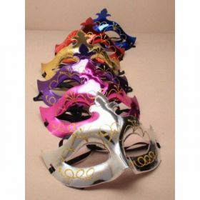 Shiny Plastic Masquerade Mask with Glitter Detail