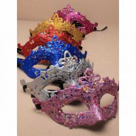 Coloured Glitter with Star Sequins Masquerade Mask