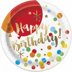 Glitzy Gold Birthday Plates pk8