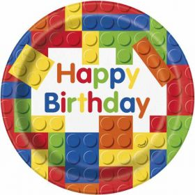 "Building Blocks 9"" Party Plates pk8"