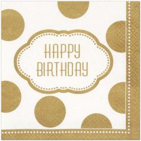 Golden Birthday Napkins pk16