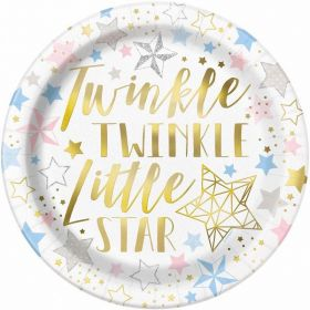 Twinkle Little Star Paper Party Plates, 9 ins, pk8