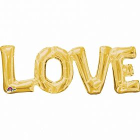 """Love"" Phrase Gold Supershape Foil Balloon"
