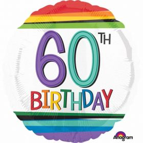 Rainbow Birthday 60th Standard Foil Balloons