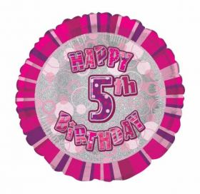 Pink Glitz Happy 5th Birthday Prismatic Foil Balloon 18in