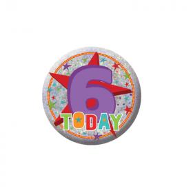 Happy 6th Birthday Holographic Badge