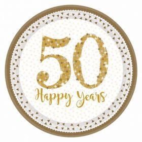 Sparkling Golden Anniversary Prismatic Paper Plates