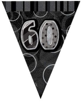 Black Glitz 60 Party Flag Banner 9ft