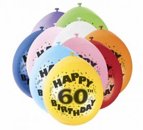 60th Happy Birthday Latex Balloons 10pk