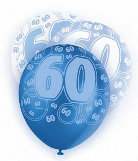 Blue Glitz 60 All Over Print Party Balloons 6pk