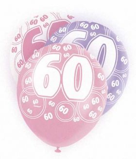 Pink Glitz 60 All Over Print Party Balloons 6pk