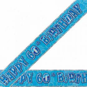 Blue Glitz 60 Prismatic 12ft Party Banner