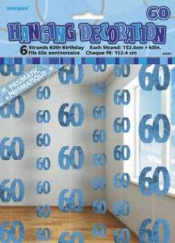 Blue Glitz 60 Hanging String Party Decoration (6 Strings)