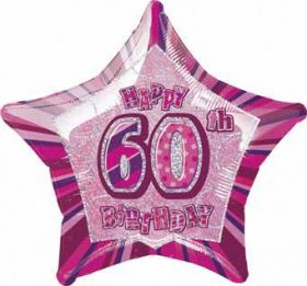 Pink Glitz Star 60th Foil Party Balloon
