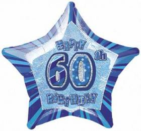 Blue Glitz Star 60 Foil Party Balloon