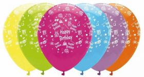 Happy birthday latex balloons - bright colours pk6