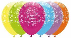 Happy birthday latex balloons - bright colours pk6