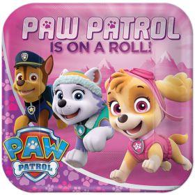 Pink Paw Patrol Square Plates pk8