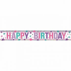 Pink Happy Birthday Holographic Foil Banner 2.7m