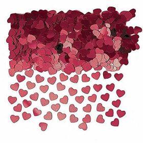 Burgundy Sparkle Hearts Metallic Confetti