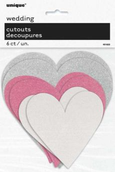 Paper Cut Out Glitter Heart Decorations pk6