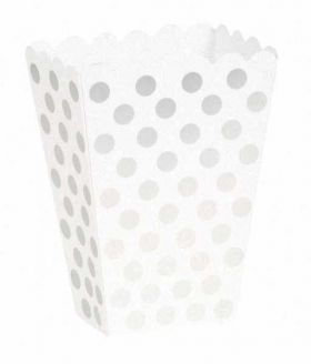 Silver Polka Treat Boxes pk 8