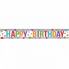 Multi Colour Happy Birthday Holographic Foil Banner