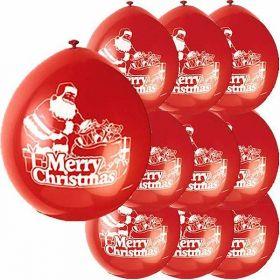 Latex Santa Merry Christmas Balloons pk10
