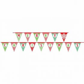 Multi-Patterned Merry Christmas Paper Bunting Flags