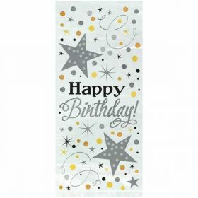 Foil Silver Glittering Birthday Cellophane Bags pk20