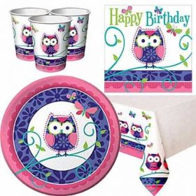 Owl Pal Birthday Party Pack For 8 including tableware and 8 filled party bags