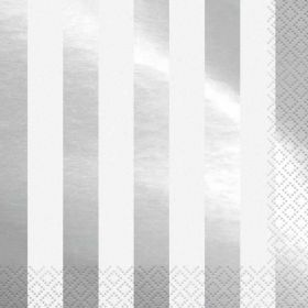 Silver Stripe Lunch Napkins pk16