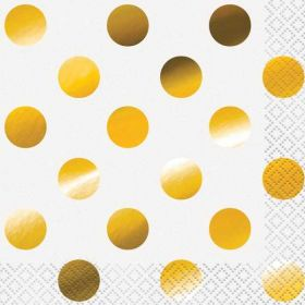 Gold Foil Dot Beverage Napkins, pk16