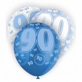 Glitz Blue 90th birthday balloons, pk6