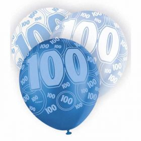 Glitz Blue 100th birthday balloons, pk6