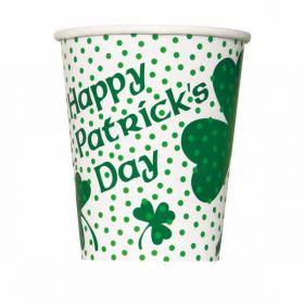St. Patrick's Day Lucky Shamrock Paper cups, 9 oz pk8