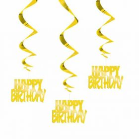 Happy Birthday gold hanging swirls pk3