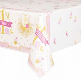 Pink and Gold 1st Birthday Tablecover
