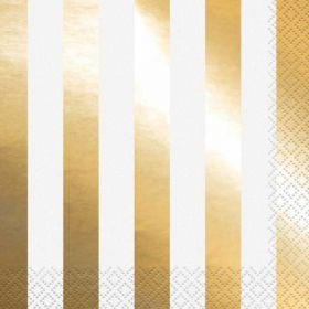 Gold Stripe Lunch Napkins pk16