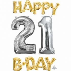 """Happy 21 B-Day"" Phrase&Number Bunch Foil Balloon"
