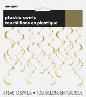 Gold Plastic Swirls pk8