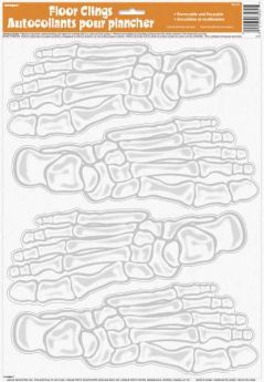 Skeleton Foot Print Floor Clings pk4