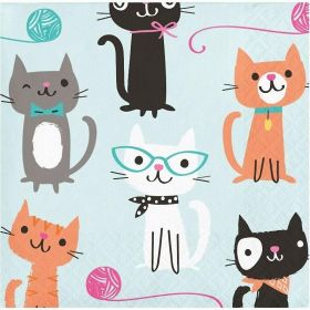 Purr-fect Party Beverage Napkins, pk16