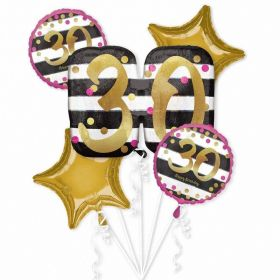 Pink & Gold 30th Birthday Foil Balloon Bouquets, pk5