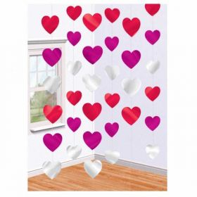 Hearts Foil String Hanging Party Decoration