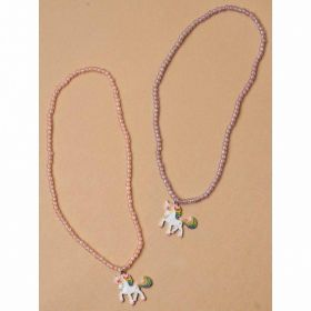Unicorn Pendant Beaded Stretch Necklace