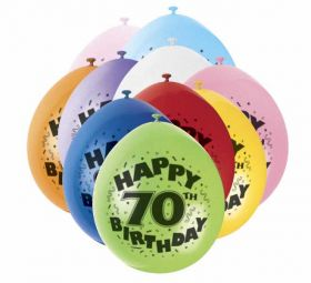 70th Happy Birthday Latex Balloons 10pk