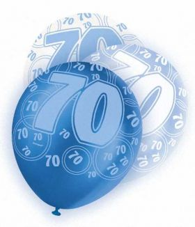 Blue Glitz 70 All Over Print Party Balloons 6pk