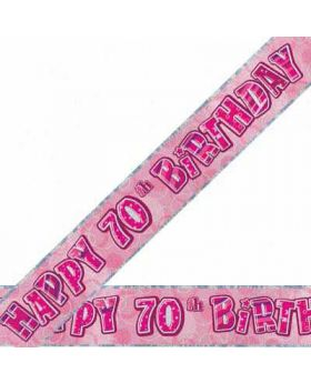 Pink Glitz 70 Prismatic 9ft Party Banner