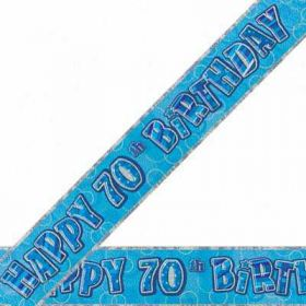 Blue Glitz 70 Prismatic 9ft Party Banner